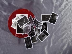 Megan's photographic prints, glass bowl and cloth